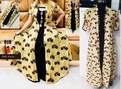 Cotton Anarkali Ladies Printed Kurti