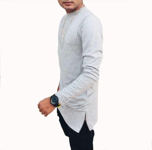 Cotton Round Men  s Grey Longline T Shirt With Side Zippers e61d854fcb5
