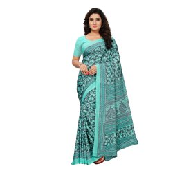Turquoise Colored Crepe Printed Casual Saree