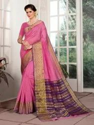 All Over Pink Color Weaving Border Saree, 6.3 M
