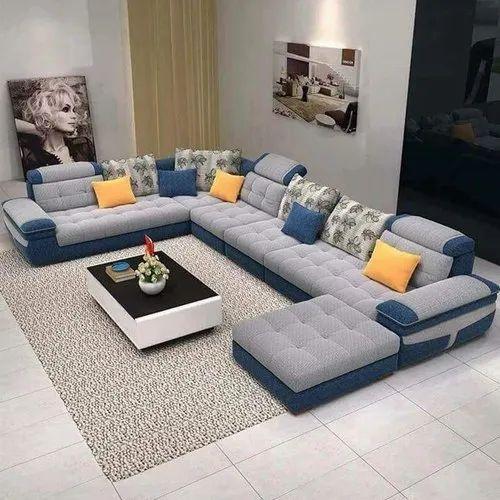 Gray U Shaped Sofa Set