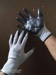 Nitrile Palm Coated Hand Gloves Grey Black