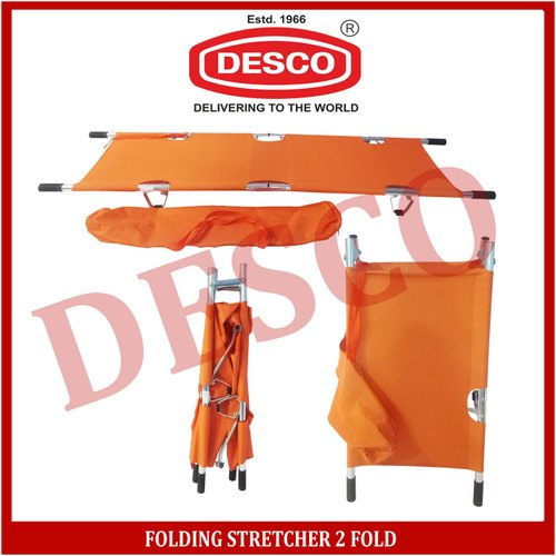 DESCO Orange Folding Stretcher 2 Fold, For Hospital, Size: 208 X 55 X 13cm