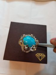 Natural Firoza Ring Turquoise Stone