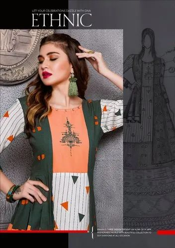 3197154cf9 Kiana House Of Fashion By Heritage Girl Stitched Long Fancy Ethnic Kurti By  Online