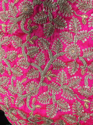 Pink Sequin Work Cotton Embroidered Fabric