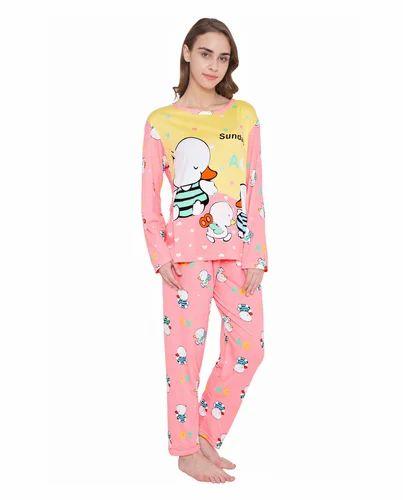 db0066b94e24 Ladies Yellow And Pink Pajama Sets