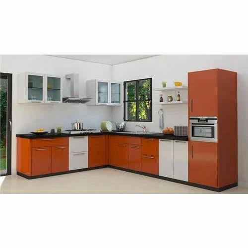 Plywood L Shape Designer Kitchen
