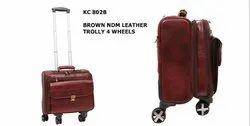 Brown Ndm Leather Trolley 4 Wheels