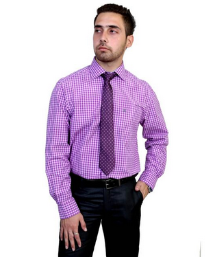 e9b115619127 Zodiac Men Solid Formal Purple Shirt at Rs 999  piece ...