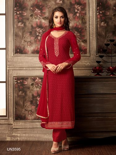 7af425aa814f4c Party Wear Red Georgette Embroidered Semi-Stitched Suit at Rs 1645 ...