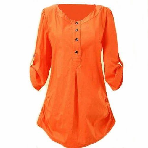 d16d54b37e89e Orange Casual Ladies Tunic Tops