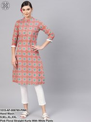 Pink Floral Straight Kurta With White Pants