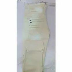 Casual Wear Cream Men's Plain Cotton Pant
