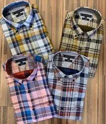 Casual Wear Mens Indigo Denim & Linen Check Shirts With Pockets