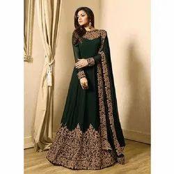 Green Embroidery Long Anarkali Dress