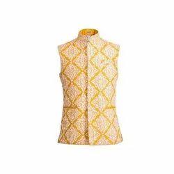Yellow Party Mens Printed Waist Coat