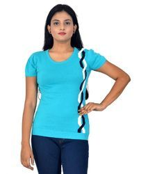 Sky Blue Short Sleeve Amx Ladies Flat Knit T Shirt (lto-63b)