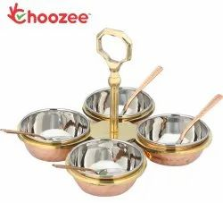 Choozee Copper/Stainless Steel Condiment Pickle Set with Spoon (Set of 4 Bowls)