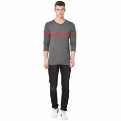 Cotton Glito Mens Full Sleeve Solid T-Shirt, Size: S- XL