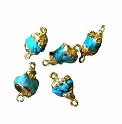 Blue Turquoise Rough Bezel Two Side Connectors Gold Plated