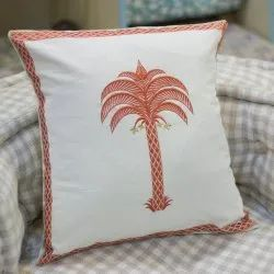 Palm Tree Embroidery Decorative Cotton Throw Pillow Case