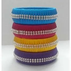Silk Thread Broad Bangle with Stone