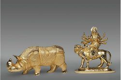 Gold Plated Durga & Hippo Statue