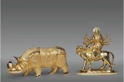 Brass Durga & Hippo Statue