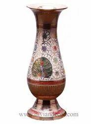 Golden Peacock Brass Vase