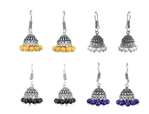 87976a1e Waama Jewels Combo Of Four Silver Plated Multi Color Jhumki