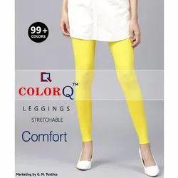 Yellow Lycra Ankle Length Leggings