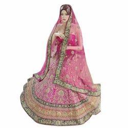 Ladies Pink Bridal Lehenga Choli, Dupatta Fabric: Net , Size: Free