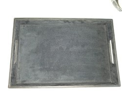 Black And Brown LEATHER MDF Serving Tray, Size: 40x27x6 Cm