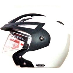 White, Black Vega Open Face Helmets for Safety, Driving