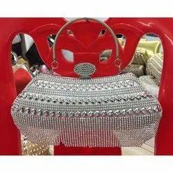 Hand Held Bag Silver Ladies Designer Wedding Purse