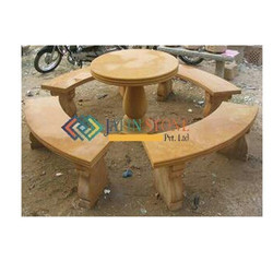 Stone Benches With Center Table