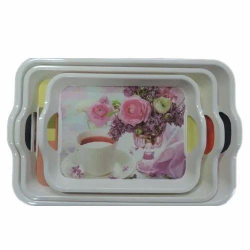 Ai White Melamine Handle Tray Size 10 Inches Rs 80 Piece Aneeksha International Id 17693016255