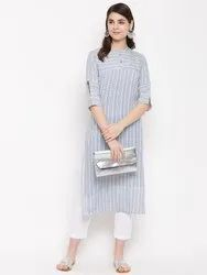 Women Grey Rayon Straight Kurta