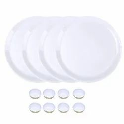 Utensza Plastic,Set of 12 Pcs, 12 Plate & Bowl Set, Unbreakable,Microwave Safe,Round Shape (White)