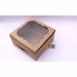 8 Inches Brown Window Cake Box
