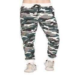 Mix Cotton Terry Army Print Track Pants For Men