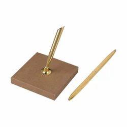 Vintage Golden Brass Pen Holder With Wooden Base