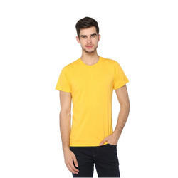 Mens Yellow Solid Casual T-Shirt
