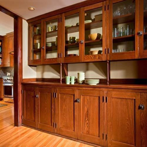 Teak Kitchen Cabinet Doors: Brown Straight Teak Wood Kitchen Cabinet, Rs 2400 /square