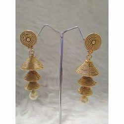Ladies Copper & Metal Golden Imitation Earring