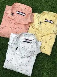 Collar Neck Long Sleeve Lafar Print Shirts