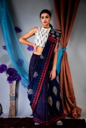 Natural Ajrakh Malmal Cotton Saree