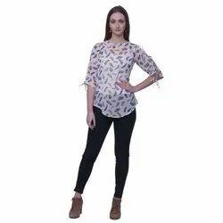 Georgette Round Neck Ladies Designer Sleeves Printed Top