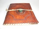 Vintage Handmade Leather Journal with Stone